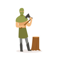 Executioner standing with axe european medieval vector