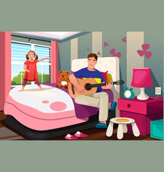 Father daughter spending time together vector