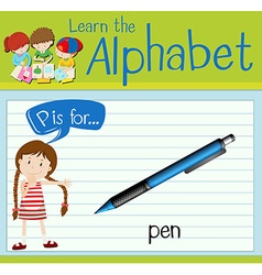 Flashcard letter P is for pen vector image