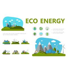 Flat alternative energy concept vector