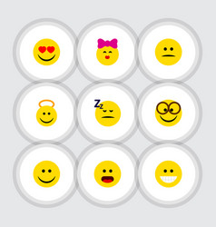 Flat icon gesture set of pleasant love grin and vector