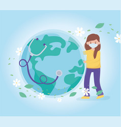 girl with medical mask and healthy world vector image
