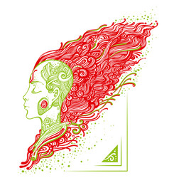 Girl with tattoos and fiery hair vector