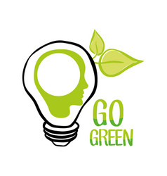 Go green bulb human head ecology vector