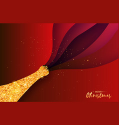 gold champagne explosion paper cut style origami vector image