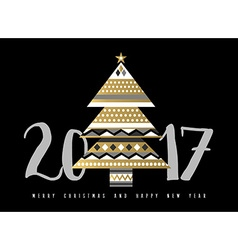 Gold Christmas and New Year 2017 tree vector image