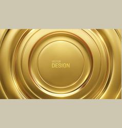 Golden circular background gold metallic ripples vector