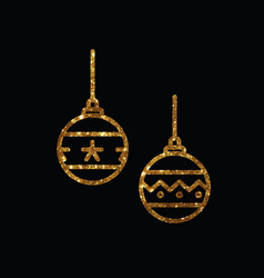 Golden glitter christmas ball deocoration icon vector