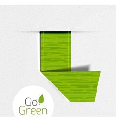 Green folded ribbon tag label eco design vector