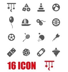 grey toys icon set vector image