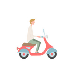 guy is riding a motor scooter a person is vector image