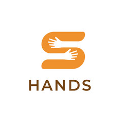 Hands holding s letter logo template creative vector