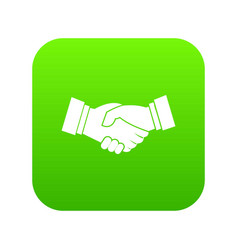 handshake icon digital green vector image