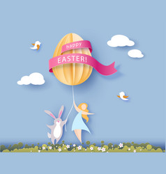 happy easter card with banny girl and egg vector image