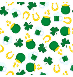 happy st patrick s day seamless pattern golden vector image