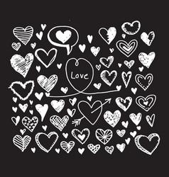 hearts icon set hand drawn vector image