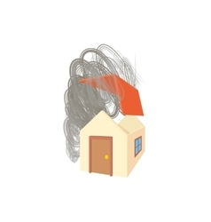 House broken by hurricane icon cartoon style vector image