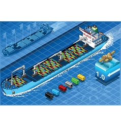 Isometric Cargo Ship with Containers in Front View vector image