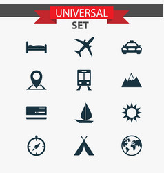 Journey icons set collection of railway carriage vector