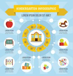 kindergarten infographic concept flat style vector image