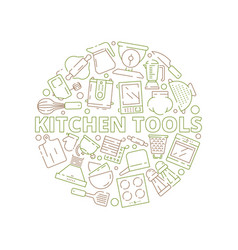 kitchen tools icons food prepare cooking items vector image