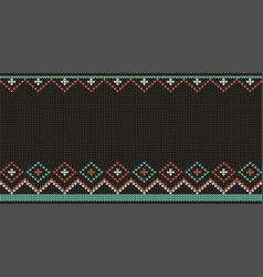 knitted black pattern background vector image