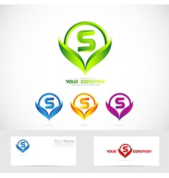 Letter S green leafs logo set vector image