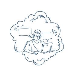 man headphones working laptop announcer bubble vector image