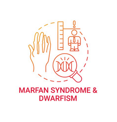 Marfan syndrome and dwarfism red gradient concept vector