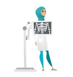 muslim roentgenologist during x ray procedure vector image