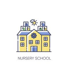 Nursery school rgb color icon vector