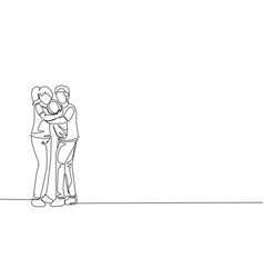 One single line drawing young happy mother vector