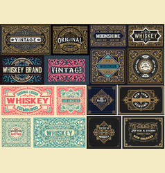 pack 16 vintage labels vector image