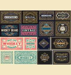 Pack of 16 vintage labels vector