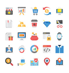 pack of shopping and ecommerce flat icons vector image