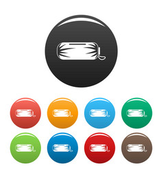 Packed sleep bag icons set color vector