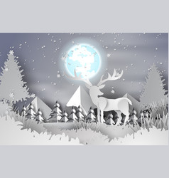 paper art of deer in the forest lanscape snow vector image