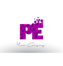 Pe p e dots letter logo with purple bubbles vector
