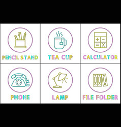 pencil stand and tea cup set vector image