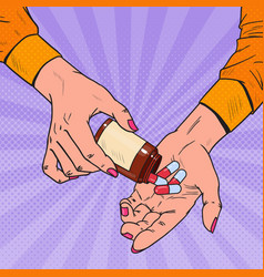 Pop art woman holding bottle with medical drugs vector