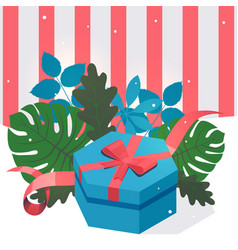 present box decorated with leaves vector image