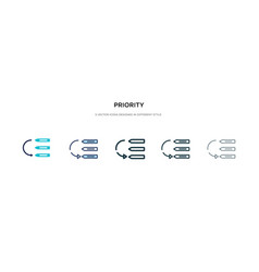 Priority icon in different style two colored and vector