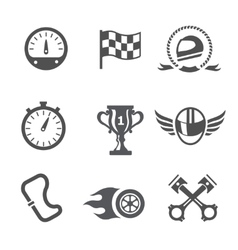 Race icons set Speedometer helmet and cup vector