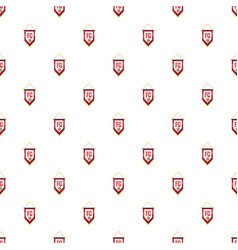 red and white pennant with soccer ball pattern vector image