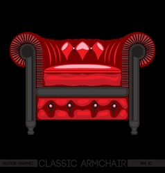 Red classic armchair over black background Digital vector image