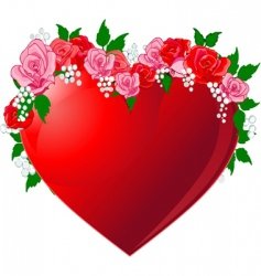 red heart flanked by roses vector image