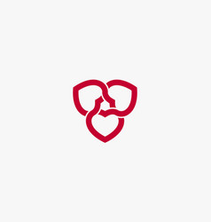 Red heart knot interlock isolated on white vector