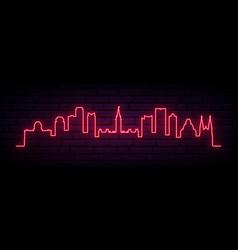 red neon skyline ottawa bright ottawa city vector image