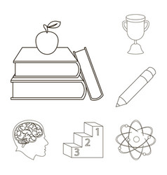 School and education outline icons in set vector