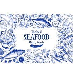 Seafood frame can be use vector